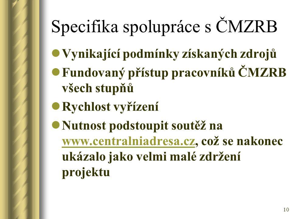 Specifika spolupráce s ČMZRB