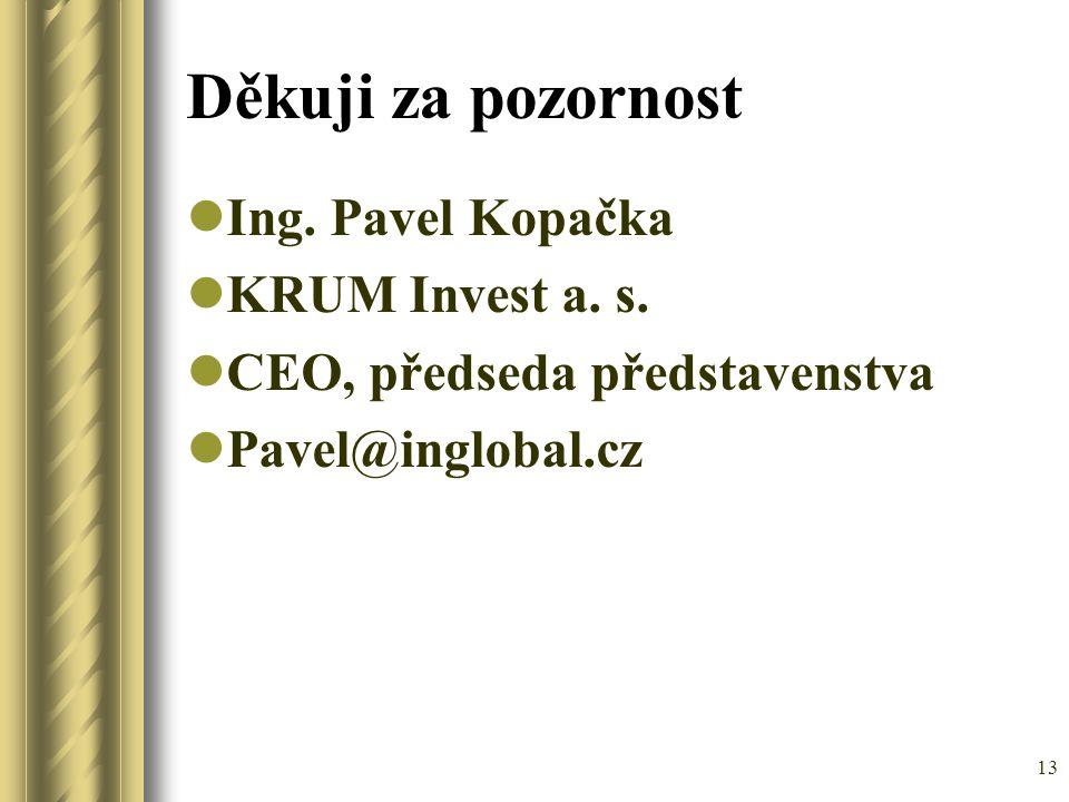 Děkuji za pozornost Ing. Pavel Kopačka KRUM Invest a. s.