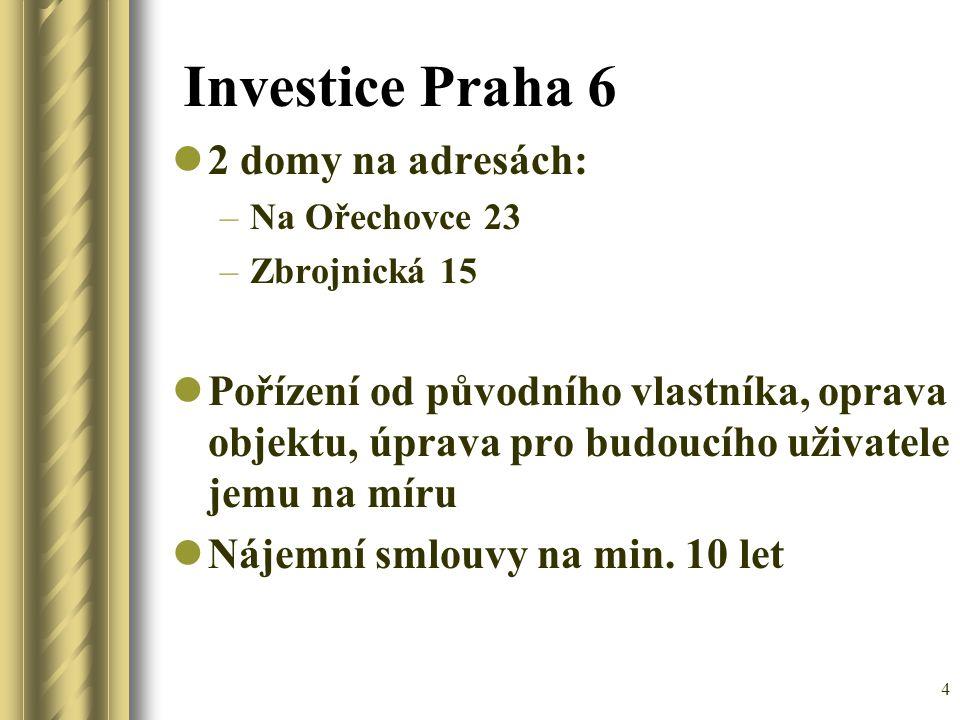 Investice Praha 6 2 domy na adresách:
