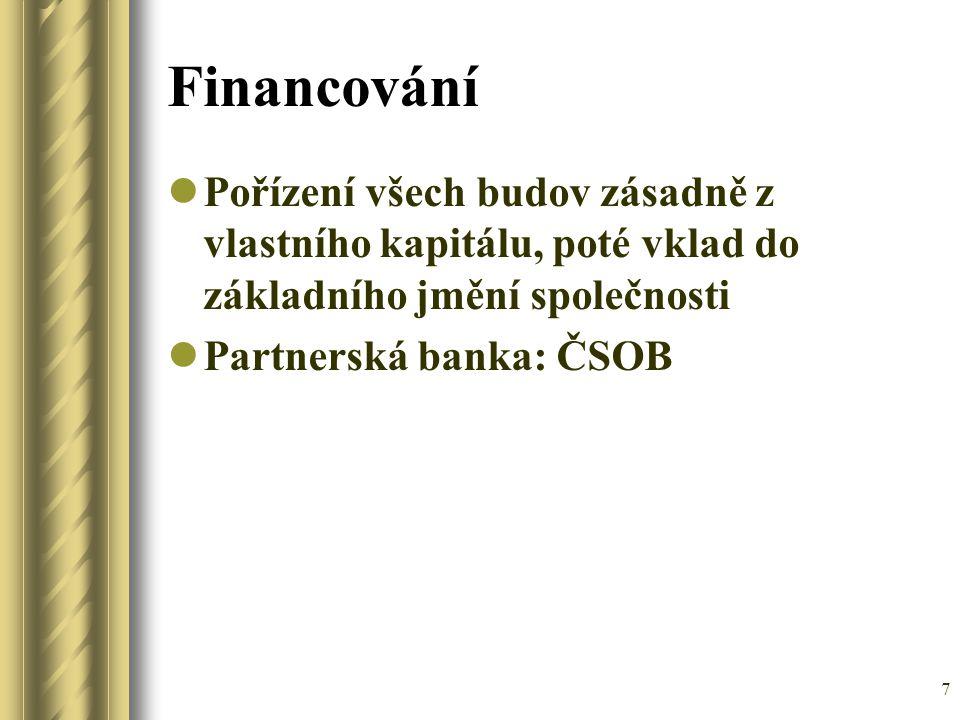Financování Pořízení všech budov zásadně z vlastního kapitálu, poté vklad do základního jmění společnosti.