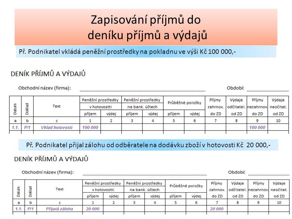 Zapisování příjmů do deníku příjmů a výdajů