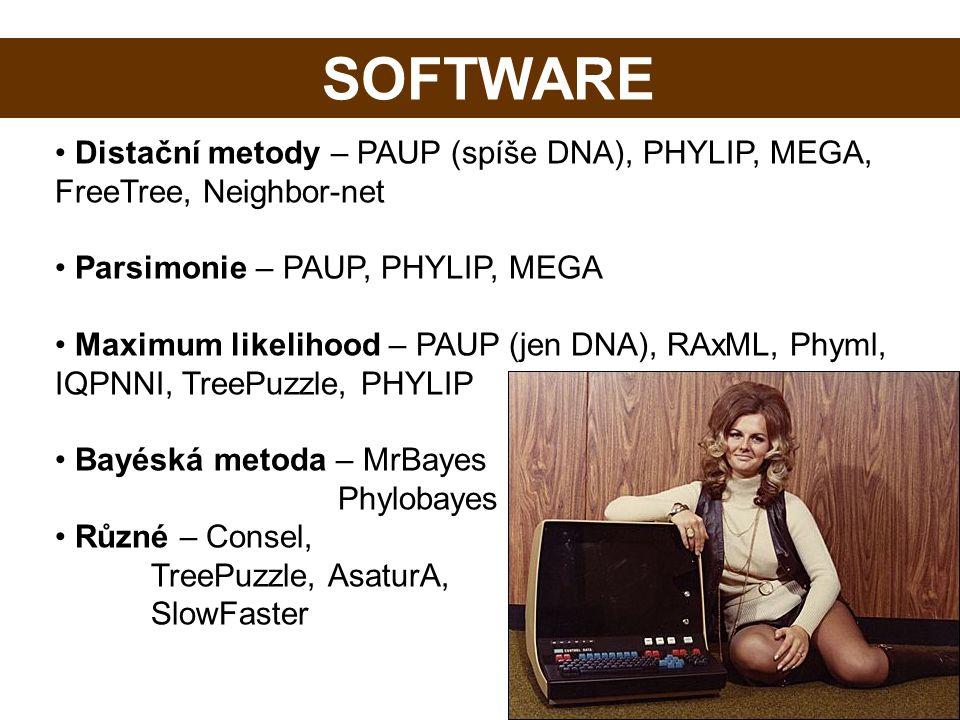 Software SOFTWARE. Distační metody – PAUP (spíše DNA), PHYLIP, MEGA, FreeTree, Neighbor-net. Parsimonie – PAUP, PHYLIP, MEGA.