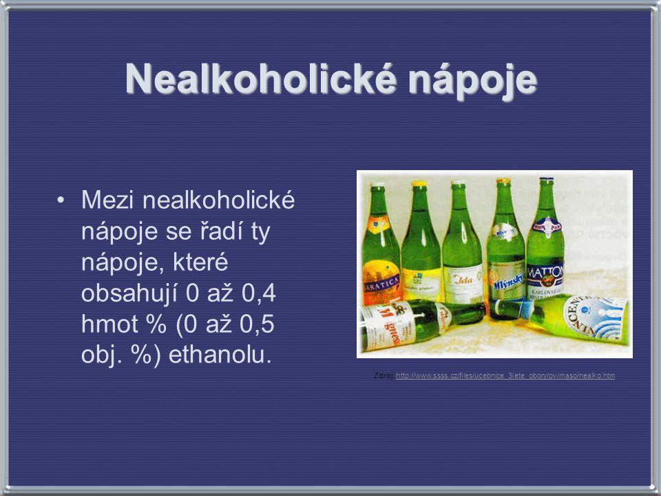 Nealkoholické nápoje Mezi nealkoholické nápoje se řadí ty nápoje, které obsahují 0 až 0,4 hmot % (0 až 0,5 obj. %) ethanolu.