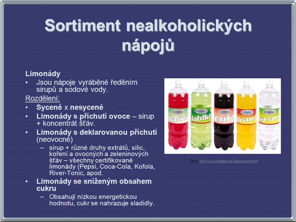 Sortiment nealkoholických nápojů