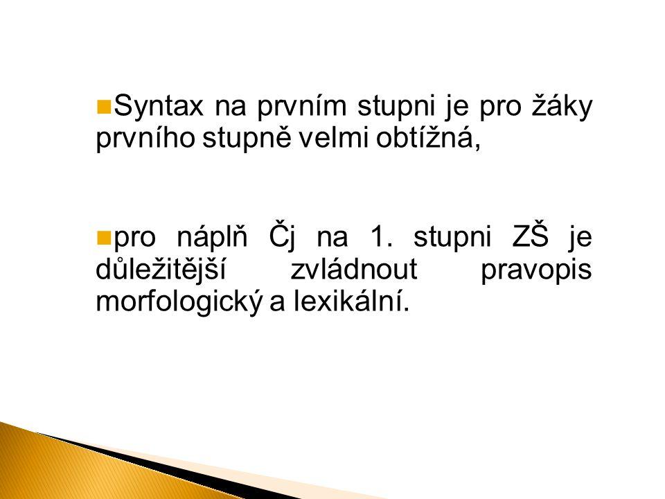 Syntax na prvním stupni je pro žáky prvního stupně velmi obtížná,