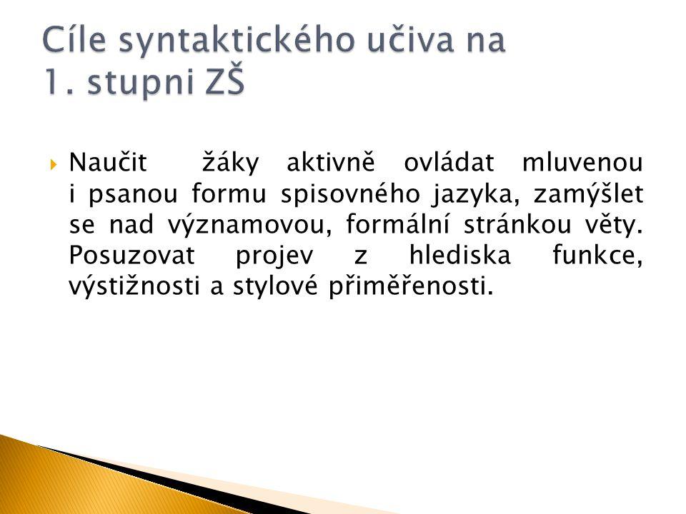 Cíle syntaktického učiva na 1. stupni ZŠ
