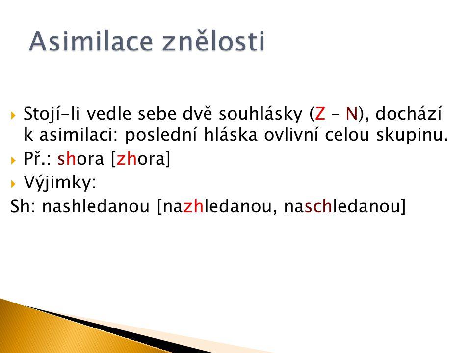 Asimilace znělosti Stojí-li vedle sebe dvě souhlásky (Z – N), dochází k asimilaci: poslední hláska ovlivní celou skupinu.
