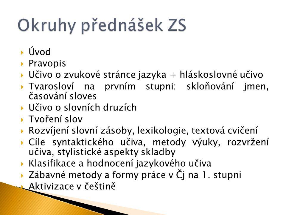 Okruhy přednášek ZS Úvod Pravopis