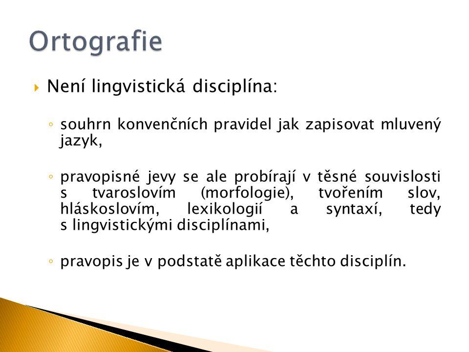 Ortografie Není lingvistická disciplína: