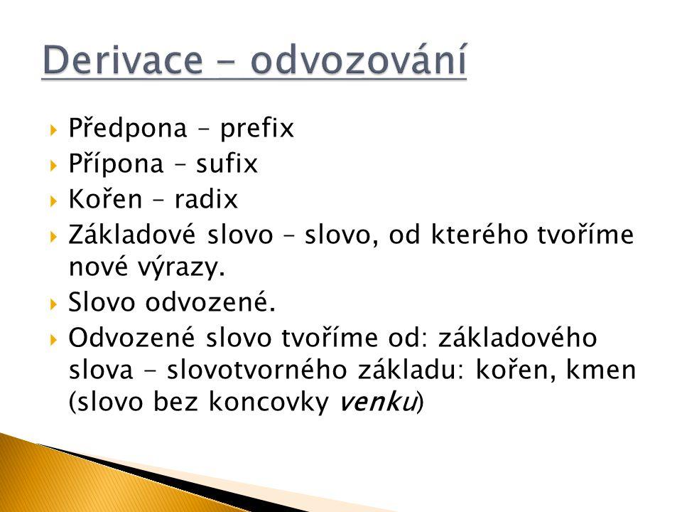 Derivace - odvozování Předpona – prefix Přípona – sufix Kořen – radix
