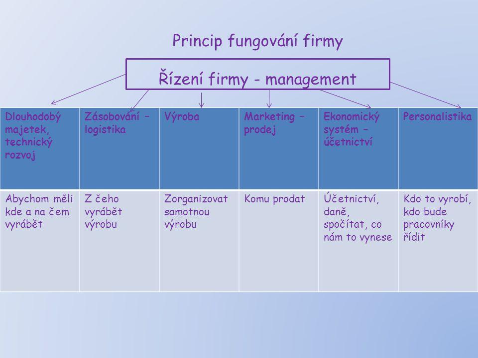 Princip fungování firmy Řízení firmy - management