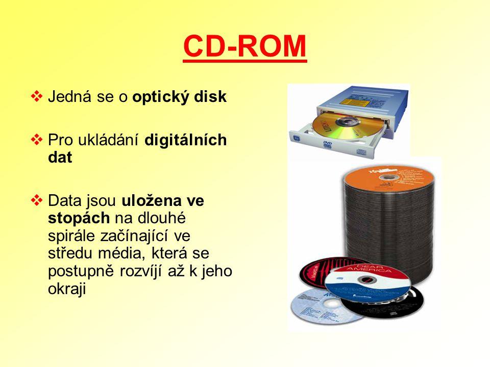 CD-ROM Jedná se o optický disk Pro ukládání digitálních dat