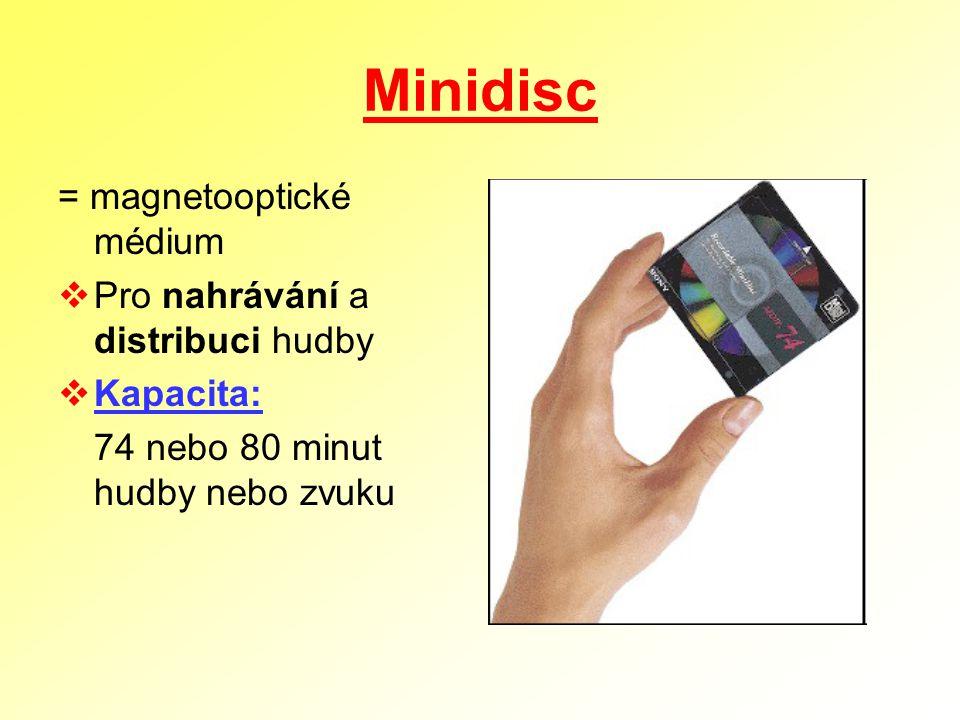 Minidisc = magnetooptické médium Pro nahrávání a distribuci hudby