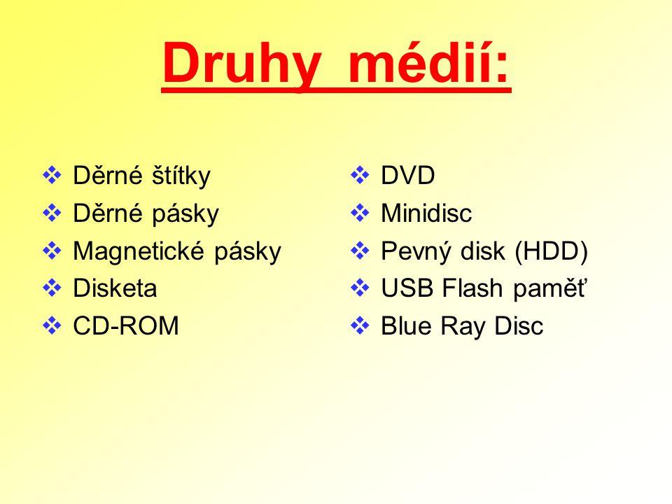 Druhy médií: Děrné štítky Děrné pásky Magnetické pásky Disketa CD-ROM