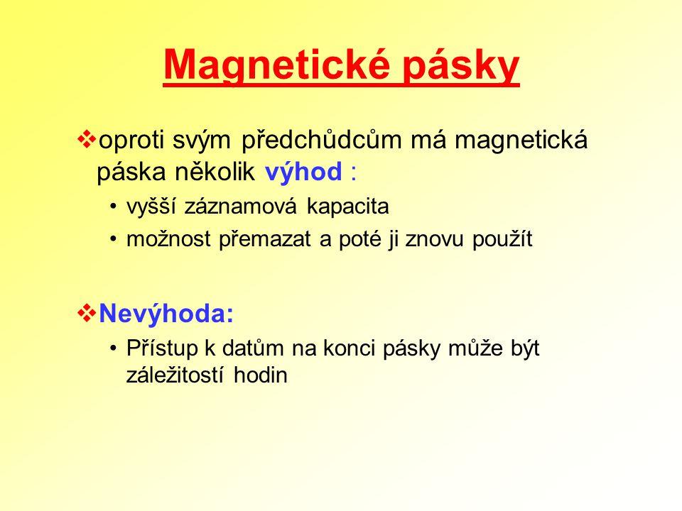 Magnetické pásky oproti svým předchůdcům má magnetická páska několik výhod : vyšší záznamová kapacita.