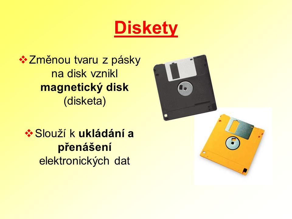 Diskety Změnou tvaru z pásky na disk vznikl magnetický disk (disketa)