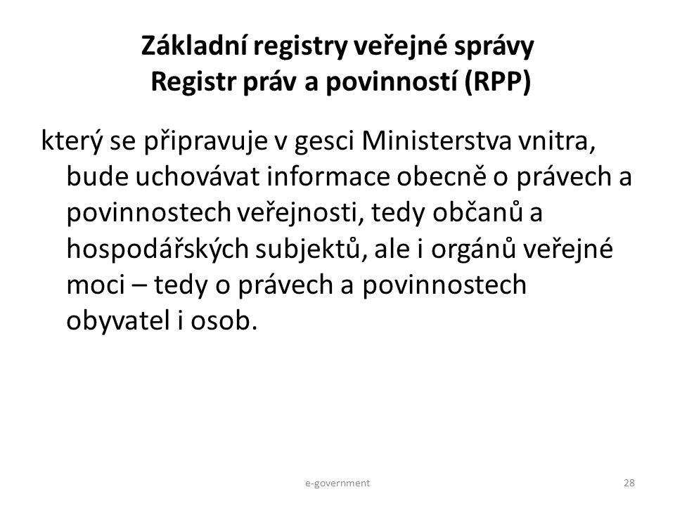 Základní registry veřejné správy Registr práv a povinností (RPP)