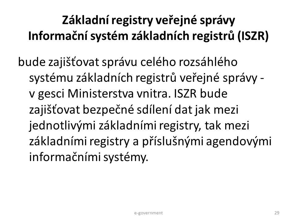 Základní registry veřejné správy Informační systém základních registrů (ISZR)