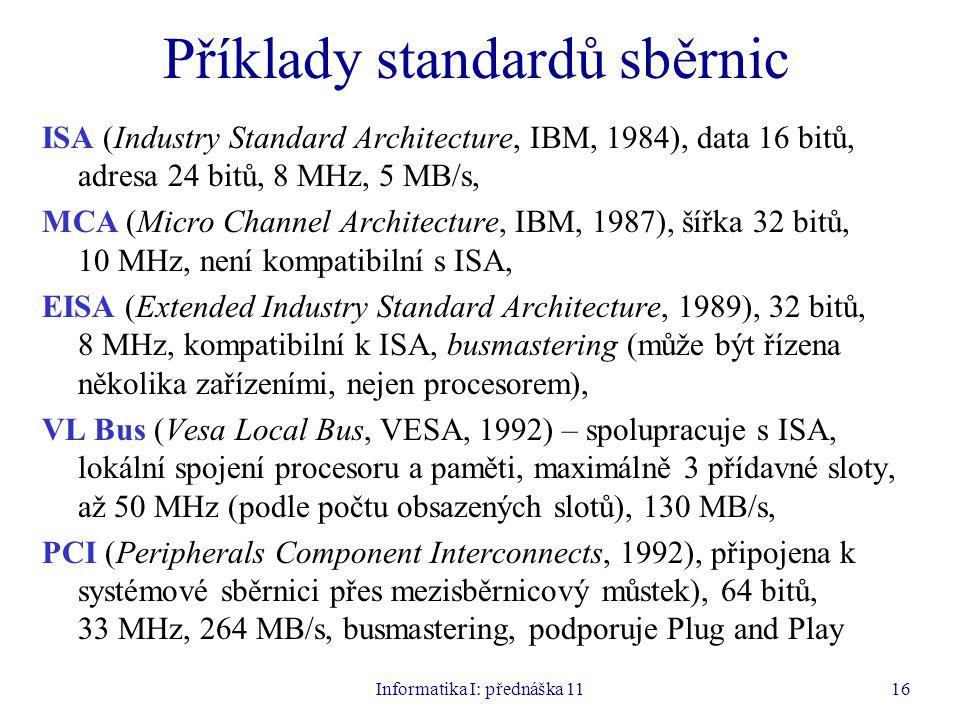 Příklady standardů sběrnic