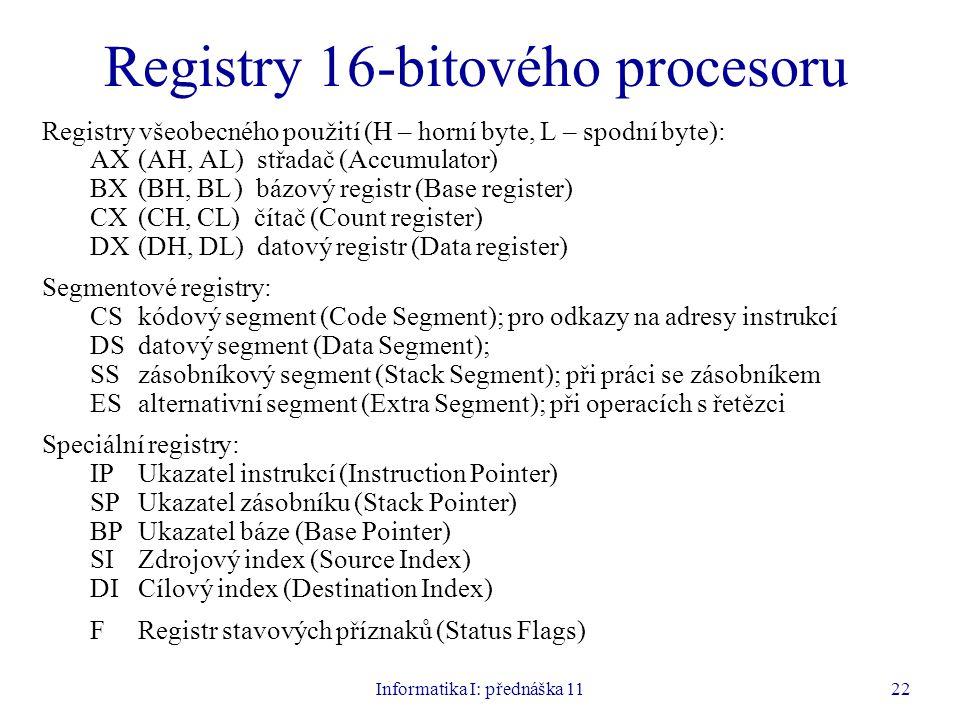 Registry 16-bitového procesoru