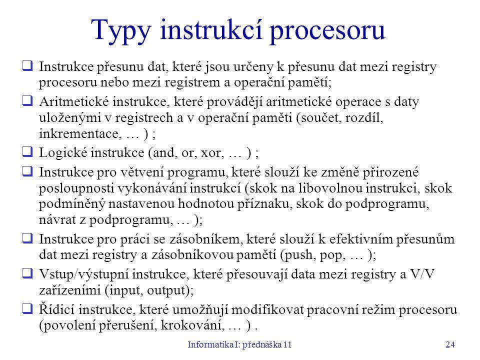 Typy instrukcí procesoru
