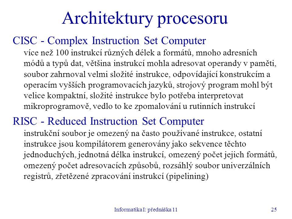 Architektury procesoru