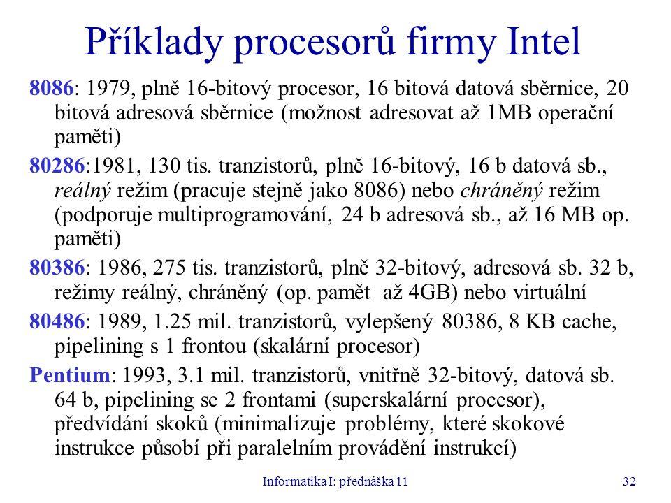 Příklady procesorů firmy Intel