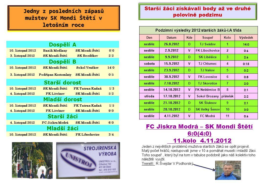 Jedny z posledních zápasů mužstev SK Mondi Štětí v letošním roce
