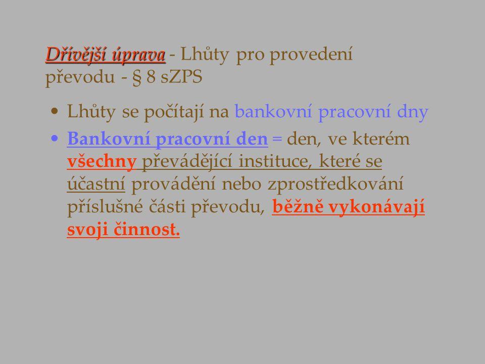 Dřívější úprava - Lhůty pro provedení převodu - § 8 sZPS