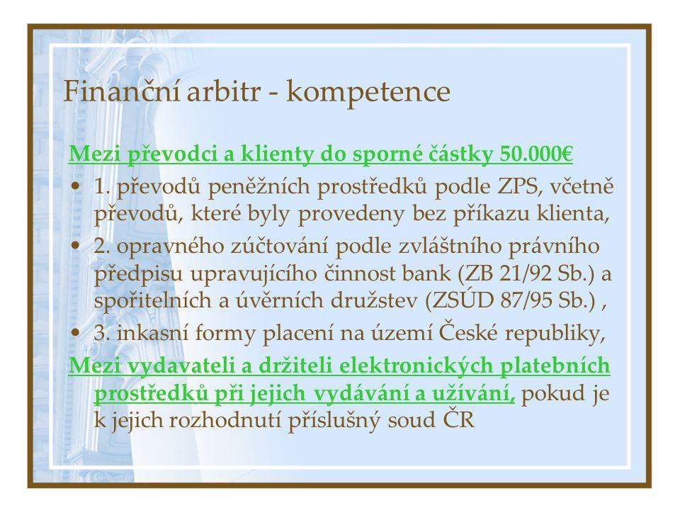 Finanční arbitr - kompetence