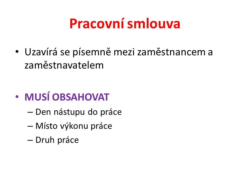 Pracovní smlouva Uzavírá se písemně mezi zaměstnancem a zaměstnavatelem. MUSÍ OBSAHOVAT. Den nástupu do práce.
