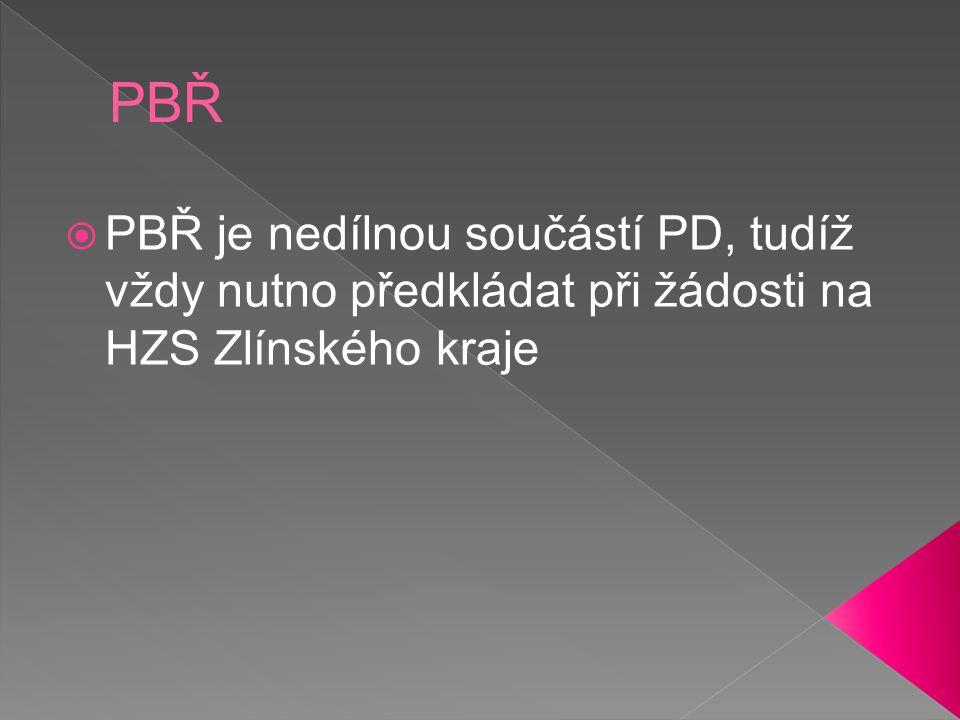 PBŘ PBŘ je nedílnou součástí PD, tudíž vždy nutno předkládat při žádosti na HZS Zlínského kraje