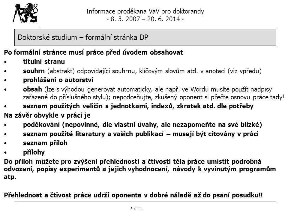 Doktorské studium – formální stránka DP