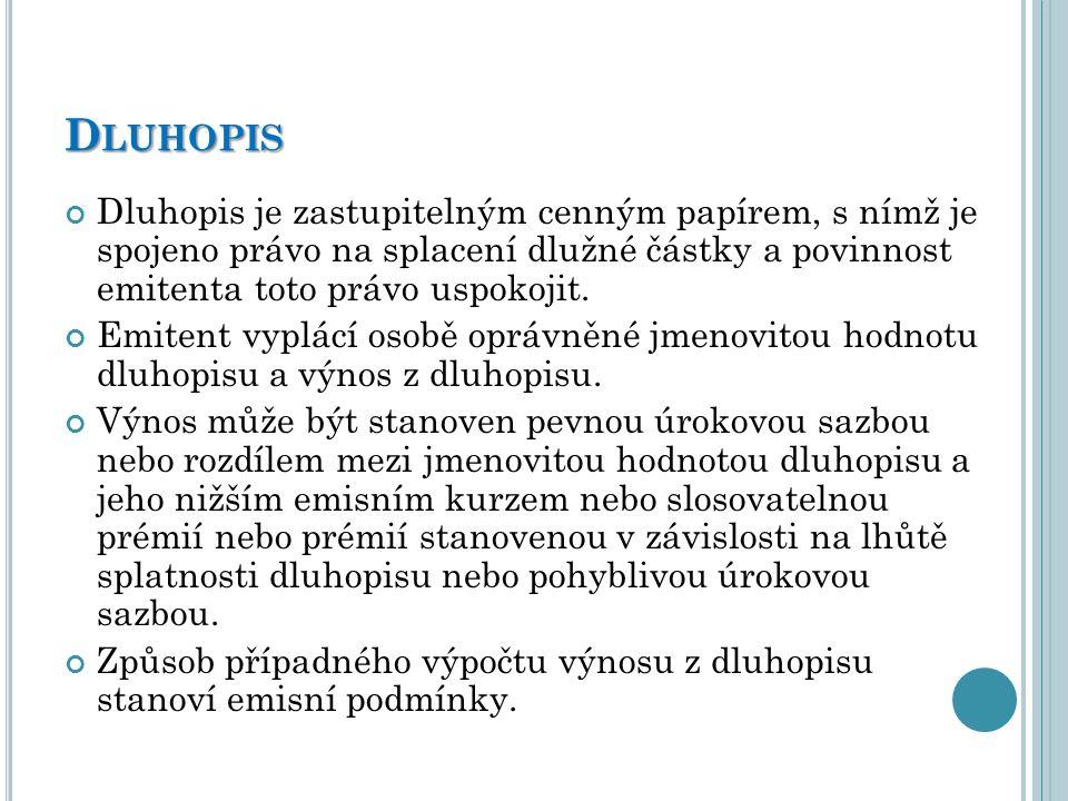 Dluhopis Dluhopis je zastupitelným cenným papírem, s nímž je spojeno právo na splacení dlužné částky a povinnost emitenta toto právo uspokojit.