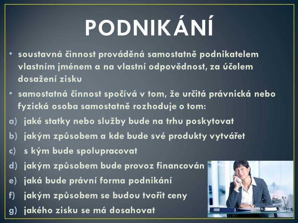 PODNIKÁNÍ soustavná činnost prováděná samostatně podnikatelem vlastním jménem a na vlastní odpovědnost, za účelem dosažení zisku.