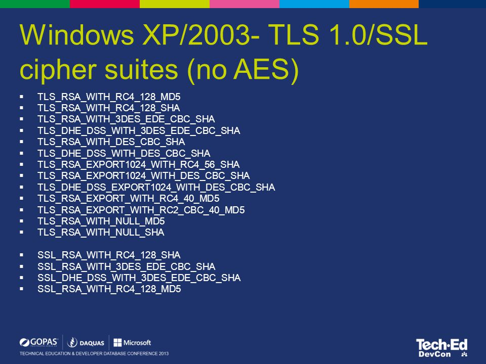 Windows XP/2003- TLS 1.0/SSL cipher suites (no AES)
