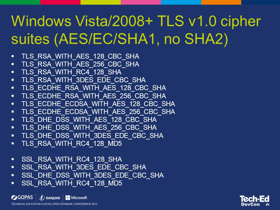 Windows Vista/2008+ TLS v1.0 cipher suites (AES/EC/SHA1, no SHA2)