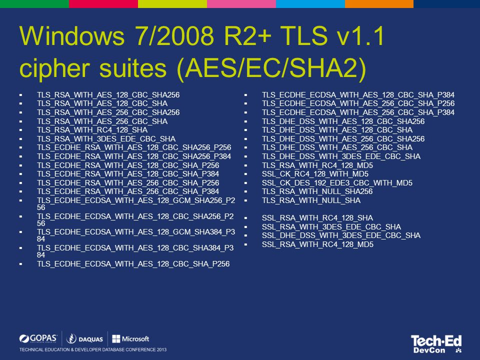 Windows 7/2008 R2+ TLS v1.1 cipher suites (AES/EC/SHA2)