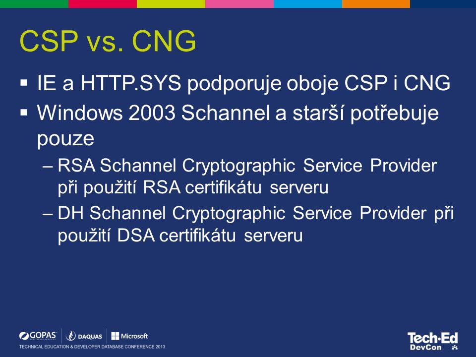 CSP vs. CNG IE a HTTP.SYS podporuje oboje CSP i CNG