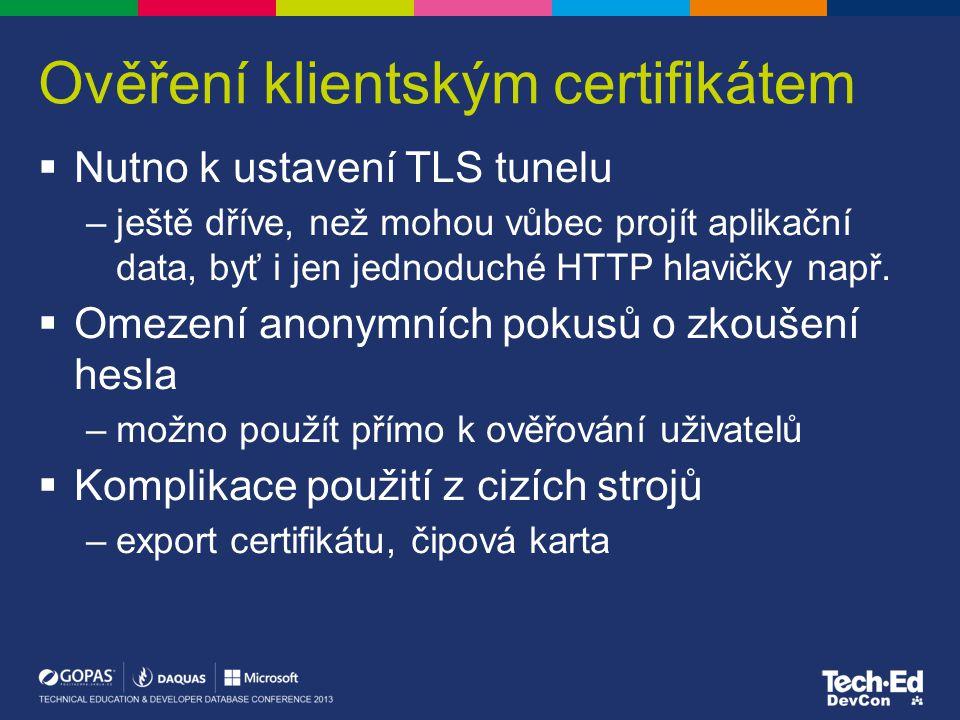 Ověření klientským certifikátem