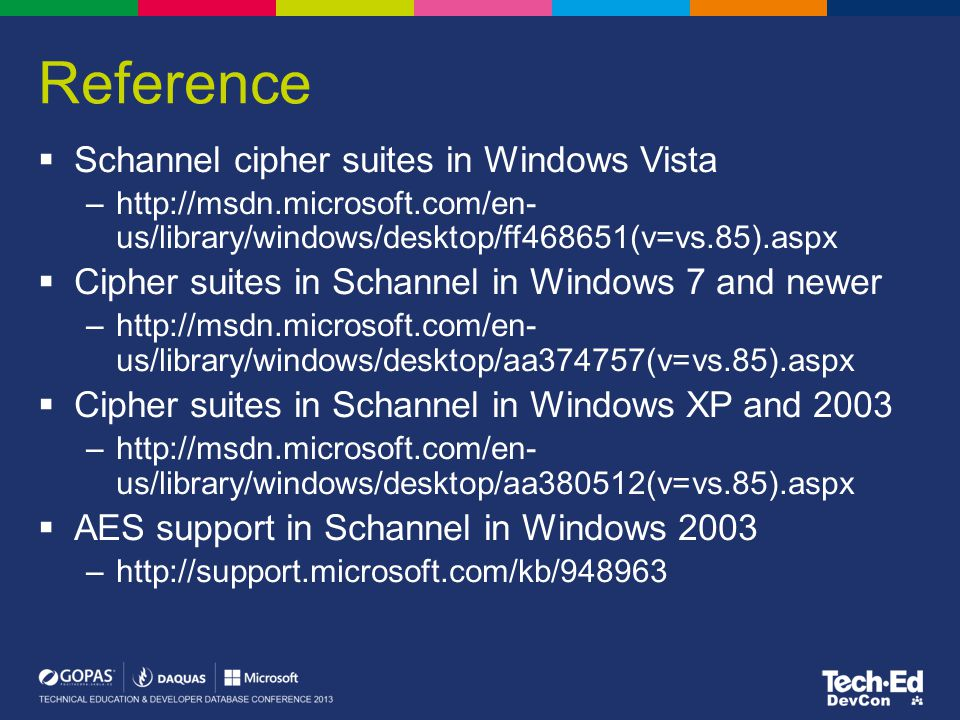 Reference Schannel cipher suites in Windows Vista