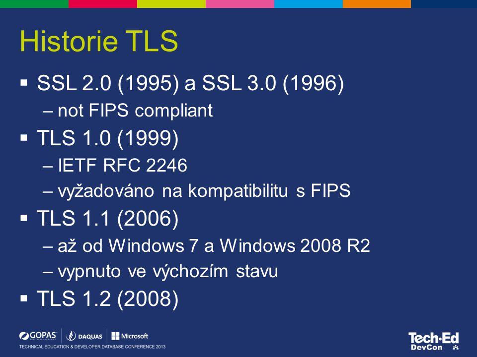 Historie TLS SSL 2.0 (1995) a SSL 3.0 (1996) TLS 1.0 (1999)