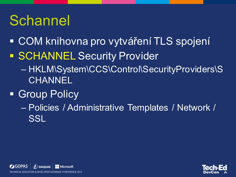 Schannel COM knihovna pro vytváření TLS spojení