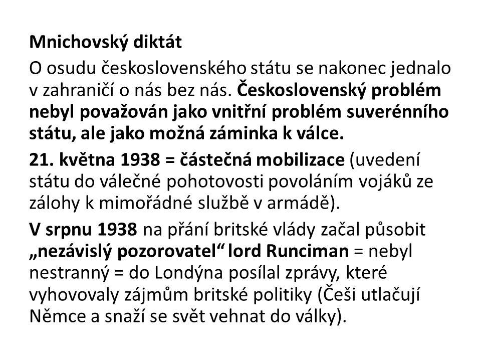 Mnichovský diktát O osudu československého státu se nakonec jednalo v zahraničí o nás bez nás.
