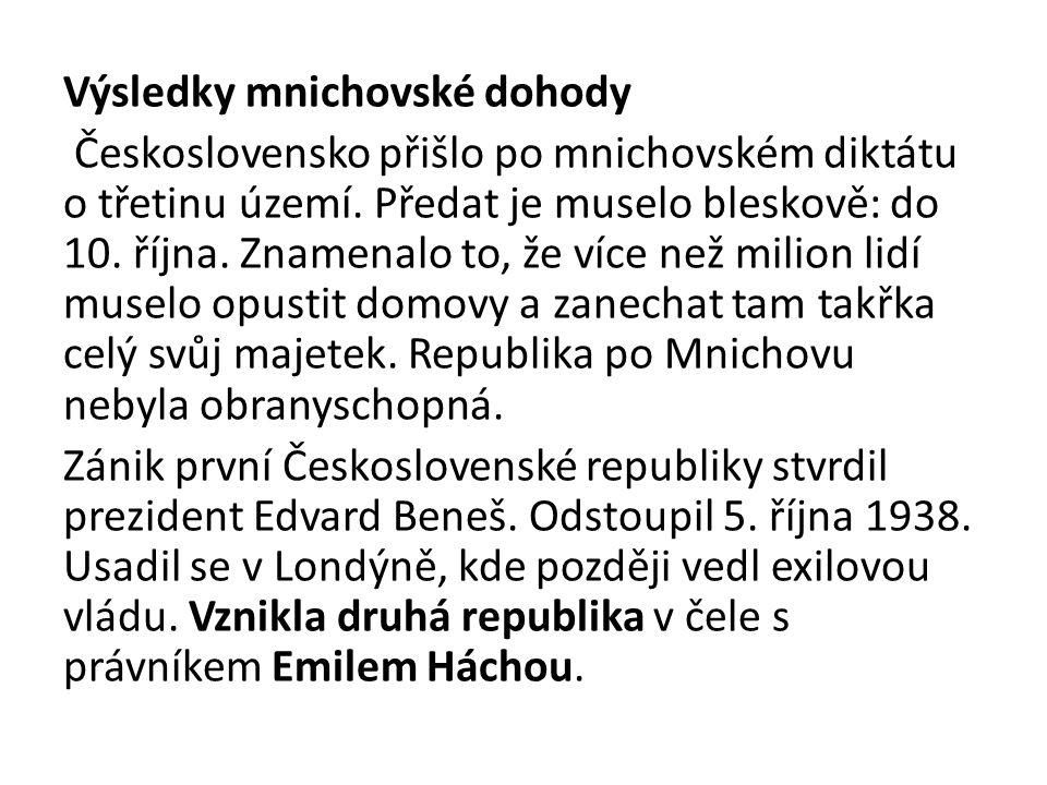 Výsledky mnichovské dohody Československo přišlo po mnichovském diktátu o třetinu území.