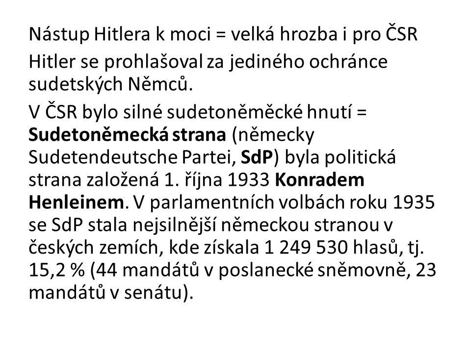 Nástup Hitlera k moci = velká hrozba i pro ČSR Hitler se prohlašoval za jediného ochránce sudetských Němců.