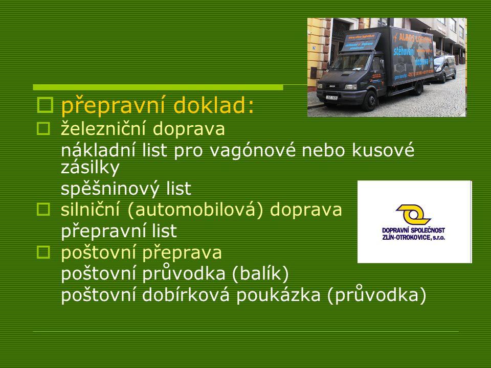 přepravní doklad: železniční doprava
