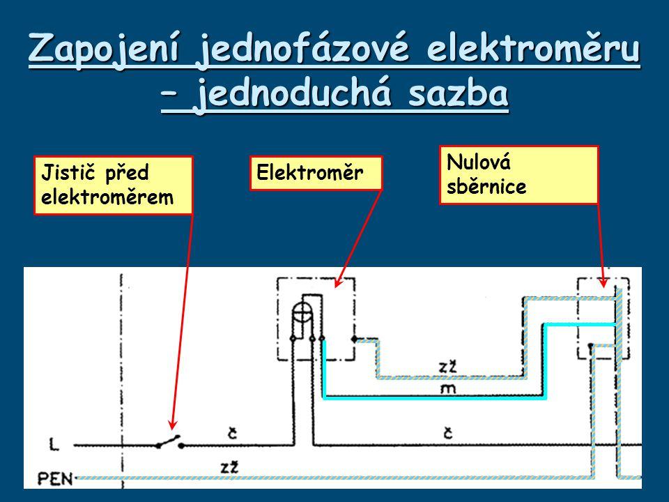 Zapojení jednofázové elektroměru – jednoduchá sazba