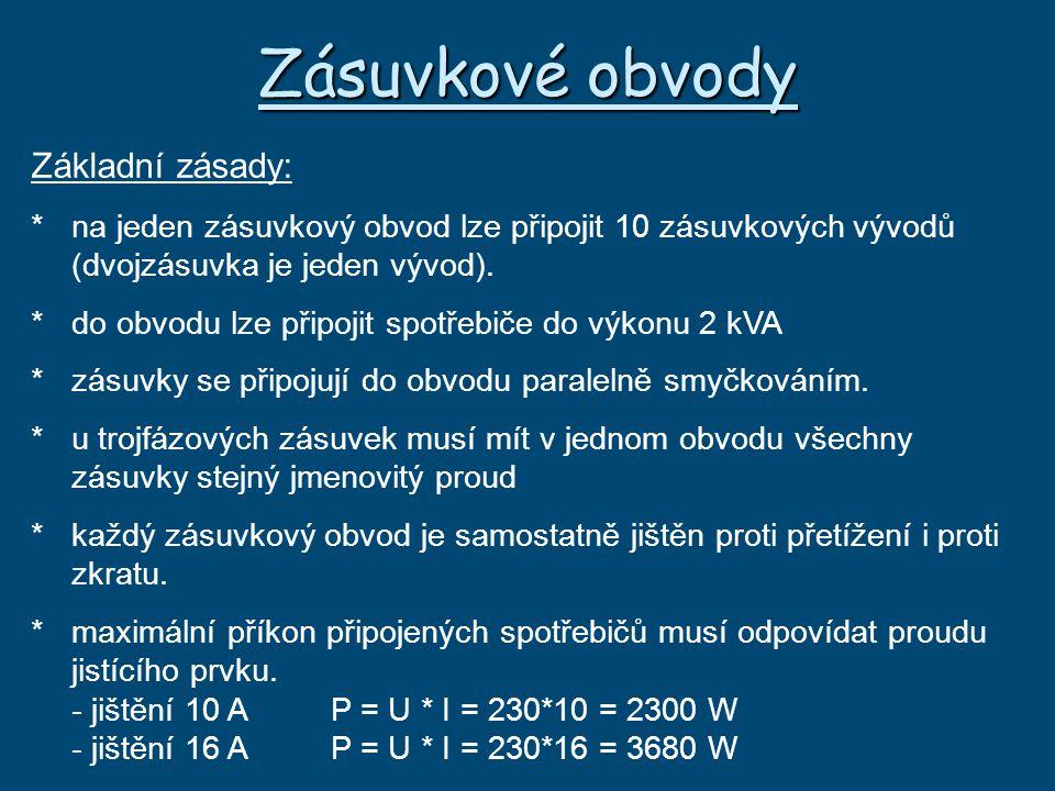 Zásuvkové obvody Základní zásady: