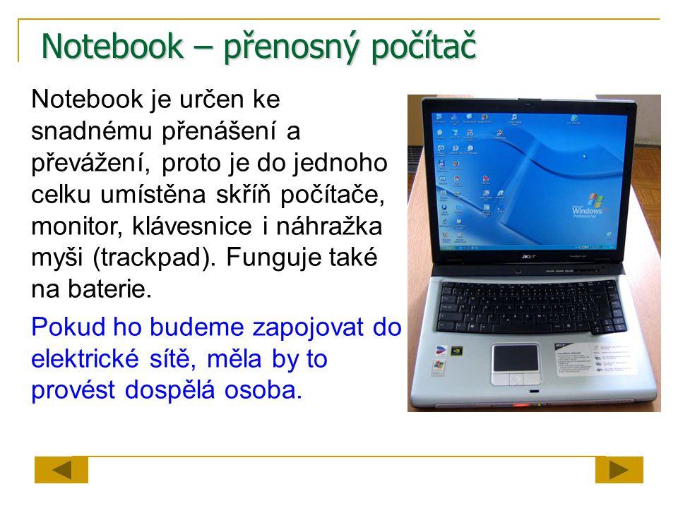 Notebook – přenosný počítač
